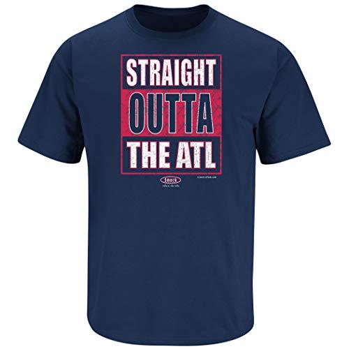 Atlanta Baseball Fans. Straight Outta The ATL Navy T-Shirt (Sm-5x) (Short Sleeve, 3XL) ()