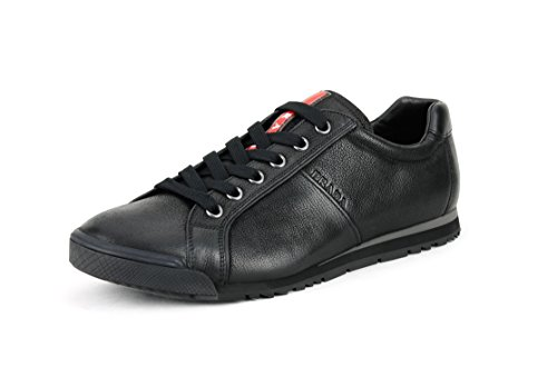 Prada Men's Capra Vintage Leather Low-Top Oxford Sneaker, Nero (Black) 4E2719 (9.5 US UK - Top Prada