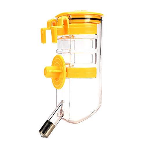 (SuperJpsor No Drip Small Animal Water Bottle.Best Mini-Sized Pet Water Feeder,for Hamster/Hedgehog/Sugar Glider/Rat/cat. (Yellow))