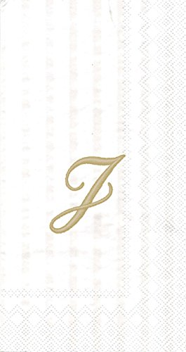(Ideal Home Range 16 Count 3-Ply Letter J Monogram Guest Towels, White/Gold)