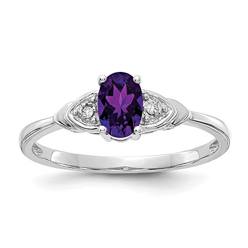 (14k White Gold Purple Amethyst Diamond Band Ring Size 7.00 Stone Birthstone February Fine Jewelry Gifts For Women For Her)