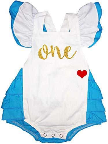 Sequin Alley Alice in Wonderland First Birthday Outfit, Onederland Romper Baby