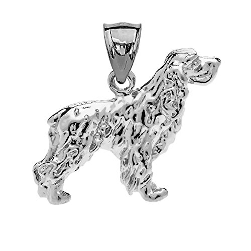 Solid Sterling Silver Cocker Spaniel Charm Pendant ()