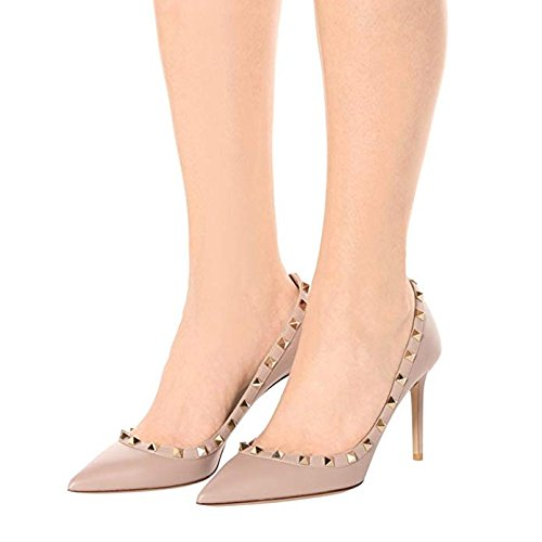 Chris-T Women's Studded Stiletto High Heels Rivets Shoes Pointed 5-14 Toe Slip On Pumps 5-14 Pointed US B076FB92MY 12 B(M) US|Nude Matte f64dcb