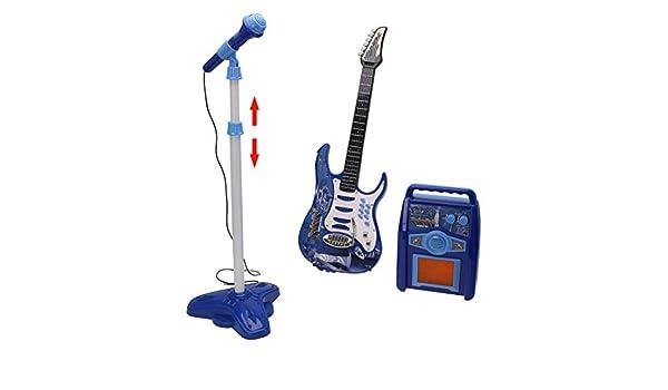 YAKOK 6 Cuerdas Guitarra Electrica Niños Guitarra con Microfono y Correa Rock Guitarra Bebe Juguete para Niños y Niñas 2-6 años (Azul): Amazon.es: Hogar