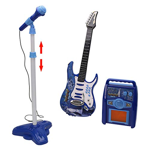 HMANE Electric Guitar Toys Musical Instrument Toys Early Educational Toy with Microphone Amplifier Play Set Kids Karaoke Kits for Boys Girls Children - (Blue)