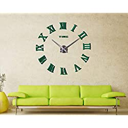 FASHION in THE CITY Mirror Surface 3D DIY Wall Clocks Modern Design Room Decorative Wall Watches (Green)