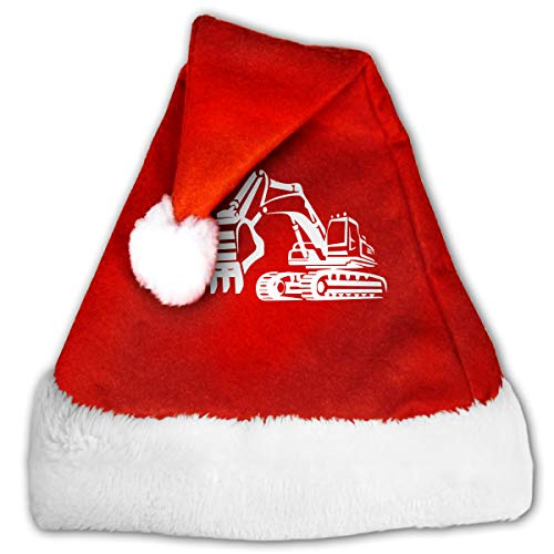 Digger Silhouette-1 Christmas Hat, Red&White Xmas Santa Claus' Cap for Holiday Party Hat ()