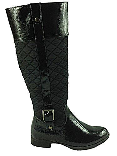 Ladies Girls Manfield FLB440 Flat Faux Leather Zip Calf Length Tall Riding Boots Shoes Size 3-8 black patent