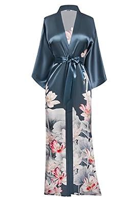 SUMI Women's Washable Silk Kimono Robe Long - Floral Print