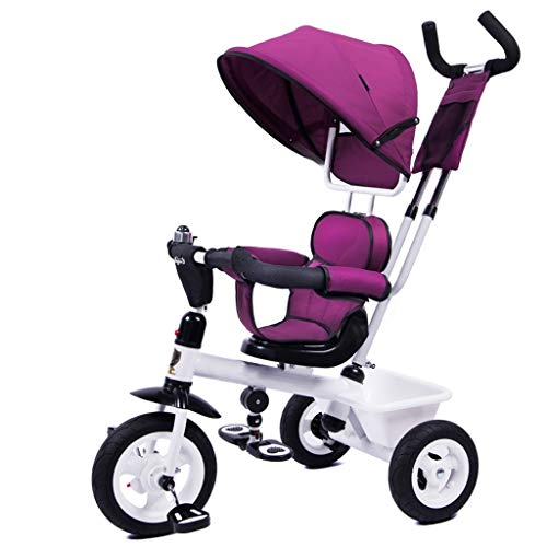 Mjd Stroller Children's Tricycle Shock Absorption Wear Bicycle Baby Bicycle 1-3-5 Years Old Baby Carriage Baby Trolley (Color : Purple)]()