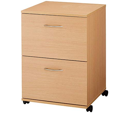 Wood & Style Office Home Furniture Premium 2-Drawer Mobile Filing Cabinet Natural Maple