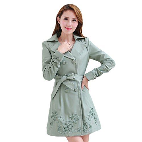 Revers Fit Casual Avec Trench YuanDian Long Printemps Automne Coat Ceinture Midi Femmes Unie Slim Couleur 0wOqa6