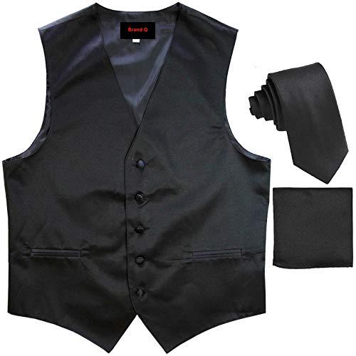 (Brand Q Men's Dress Vest NeckTie Pocket Square Set for Suit or Tuxedo (4XL, Black))