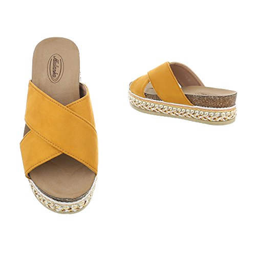 Ital-Design Pantoletten Damenschuhe Sandalen Sandaletten Gelb Orange G-79