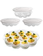 Deviled Egg Tray Carrier with Lid, 12 Slot Devilled Egg Holder Container with Flat Lid, Pack of 3