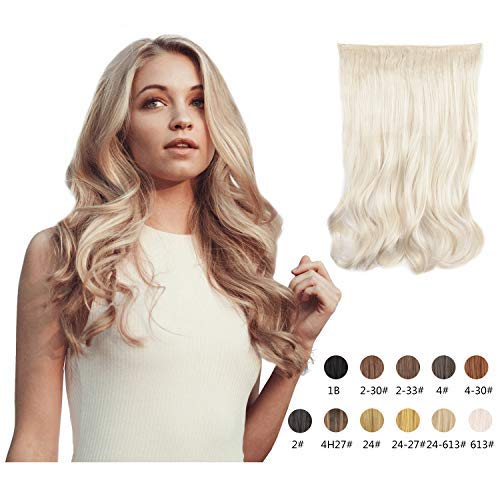 Halo Hair Extensions 20 Inch Long Natural Curly Wavy Synthetic Hairpiece Flip in Hidden Wired Hair Pieces for Women (613#)