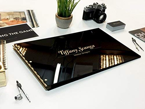 11x17 Landscape Glossy Black Portfolio with Gold Hinges. Portfolio book, Screw post portfolio, Portfolio Presentation. Engraving services are not included.