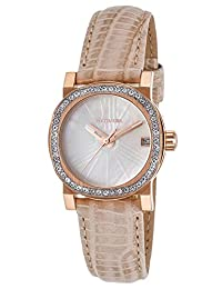 Wittnauer Wn2003 Women's Beige Genuine Leather White Mop Dial Rose-Tone Ss Watch