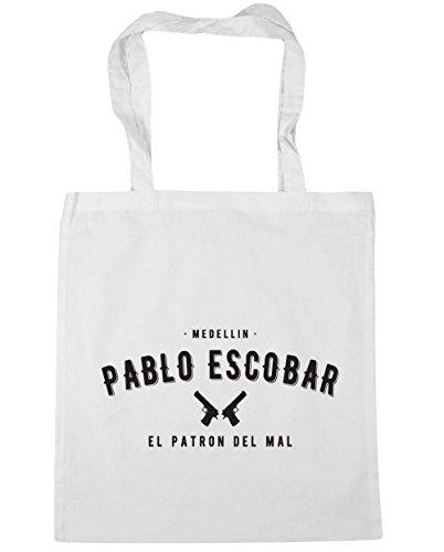 HippoWarehouse Pablo Escobar el patron del mal Tote Compras Bolsa de playa 42cm x38cm, 10litros blanco