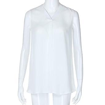 Camisetas para Mujer, Riou Tank Top Primavera Verano Sin Mangas Sólido Suave Slim Fit con Cuello en V Moda de Gasa Blusa Camiseta Casual Chica de Chalecos T-Shirt Camisas Playa: Amazon.es: Ropa