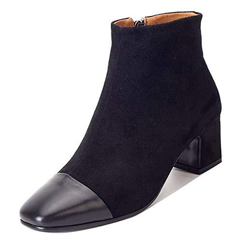 ZHZNVX Damenmode Stiefel PU Herbst Minimalismus Stiefel Chunky Chunky Chunky Heel Karree Stiefel Schwarz ff89b8