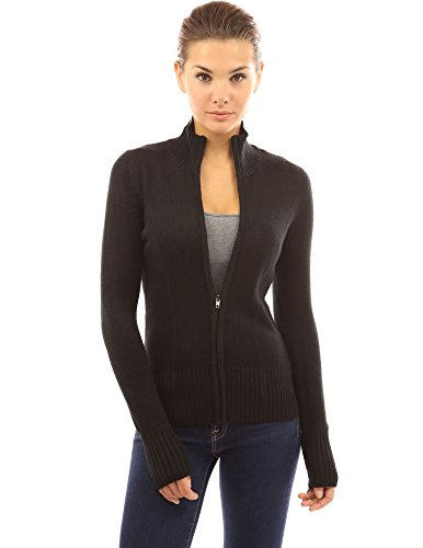 PattyBoutik Women's Turtleneck Full Zip Cardigan (Black XL) - Ladies Full Zip Cardigan Sweaters