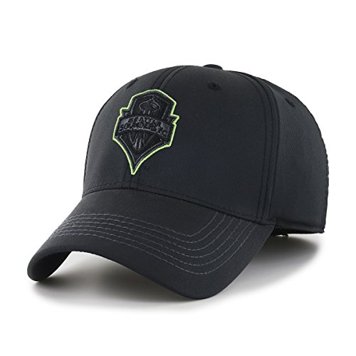 OTS MLS  Seattle Sounders Fc Wilder  Center Stretch Fit Hat, Black, Medium/Large