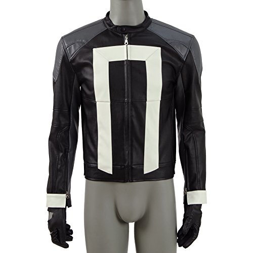 Leather Costumes Work Custom (Men and Women PU Jacket Cosplay Drama Agents Ghost Knight for Halloween&Christmas Gift with)
