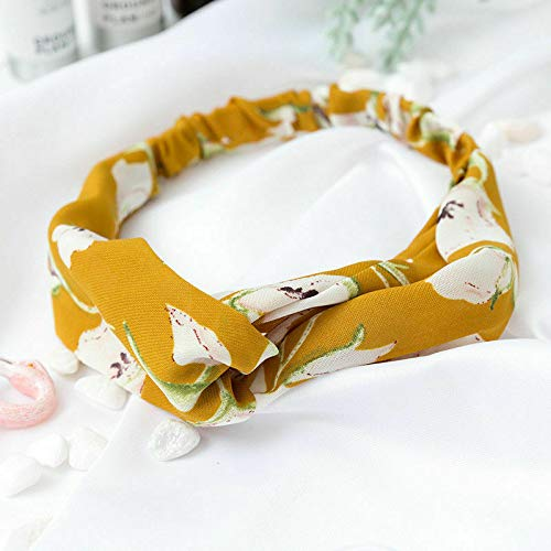 Fashion Women Turban Twist Knot Head Wrap Headband Twisted Knotted Hair Band (Main Colour - Yellow Lily)
