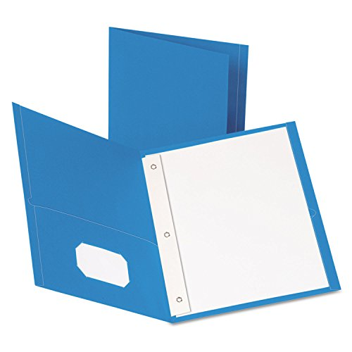 - Paper Twin-Pocket Portfolio, Tang Fasteners, Letter, 1/2quot; Capacity, Blue, 25/Box