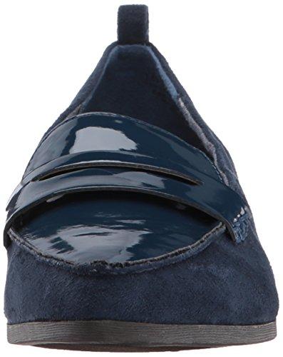 Dr. Scholls Dames Verduistering Stuiver Loafer Elegant Marine Microfiber / Patent