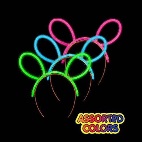 Fun Central G715 8 by 7 Inches 6 Packs Glow Headbands, Glowing Ear Headbands, Glow Stick Headbands Raves, Concerts, Festivals, Neon Party, Glow Party, Birthday Party, Christmas, Halloween, Stocking Stuffers, Party Favors and Rewards - Assorted