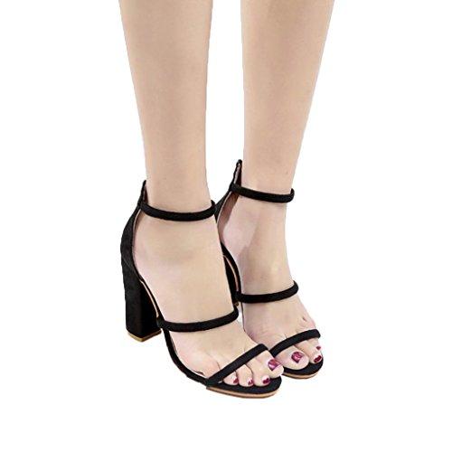 TOOPOOT 2018 New Women's High Heel Sandals,Ladies Zip Sandals High Heels Block Party Shoes (US:6.5, Black)
