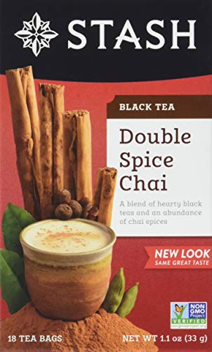 Stash Tea Double Spice Chai Black Tea, 18 Count Tea Bags in Foil (Pack of 2)