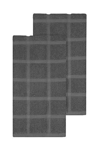 - Ritz KitchenWears Cotton Solid Oversized Kitchen Dish Towel Set, 2-Pack, Graphite