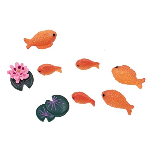 Towashine Resin Fake Red Fish Lotus Toy Set Miniature for sale  Delivered anywhere in USA