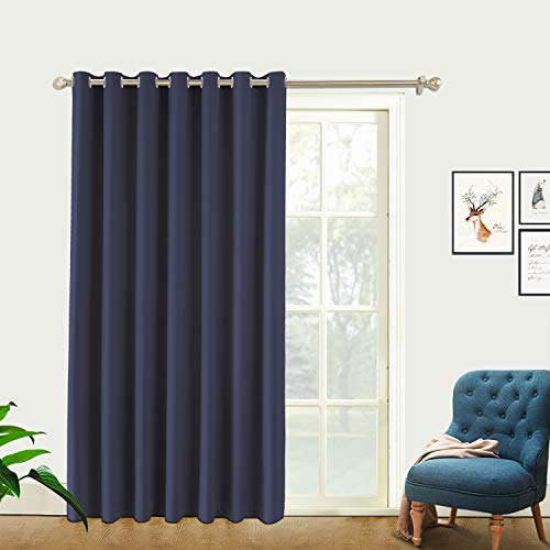 PRAVIVE Room Divider Privacy Screen - Extra Large Grommet Top Blackout Curtains for Shared Space Partitions, Suit for Apartment, Studio, Storage, High Ceilings (One Pack, 8'Tall x 10' Wide, Blue)
