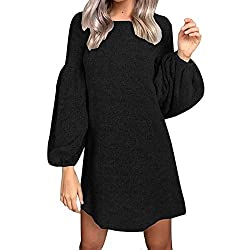 Hot Sale Women Knitted Dress Deatu Ladies Fashion Casual Solid Long Sleeve O Neck Bandage Puff Sleeve Knitted Dress Black?� S