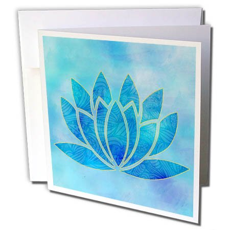 3dRose Andrea Haase Art Illustration - Watercolor Illustration Of Lotus flower Symbol In Blue - 6 Greeting Cards with envelopes ()