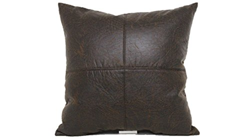 Brentwood Originals 2098 Nobuk Faux Leather Toss Pillow, 17-Inch, Brown
