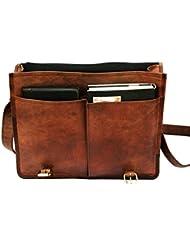 QualityArt 16 Twin Pocket Leather Messenger Bag Business Bag Briefcase Laptop Case