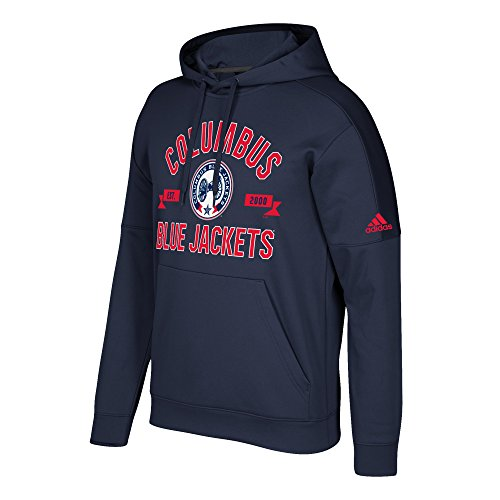 adidas NHL Columbus Blue Jackets Mens Misconduct Team Issue Fleece Pullover Hoodmisconduct Team Issue Fleece Pullover Hood, Dark Navy, Small