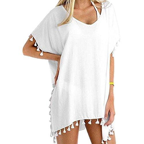 Bikini Camicetta Bianco Da Donna Spiaggia Con Bagno Cover Frange Copricostume Up Sciolto Sentao Mare Costumi Abito Zwxq0fPf