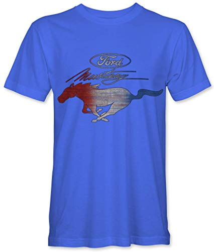 Ufficiale Vintage T Ford Blue Mustang Con Logo Royal shirt q7qnvtBaU