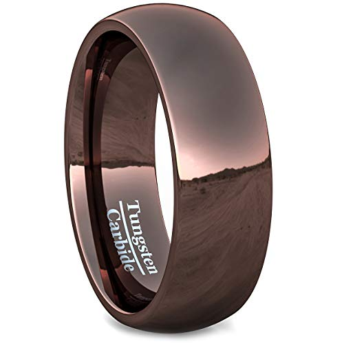 Duke Collections 8mm Brown Tungsten Rings for Men Durable Polished Tungsten Carbide Ring Dome Style Mens Wedding Band Comfort Fit (8)