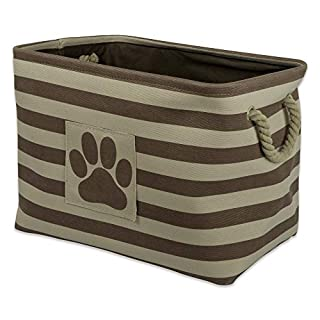 """DII Bone Dry Large Rectangle Pet Toy and Accessory Storage Bin, 17.75x12x15"""", Collapsible Organizer Storage Basket for Home Décor, Pet Toy, Blankets, Leashes and Food-Brown Stripes"""