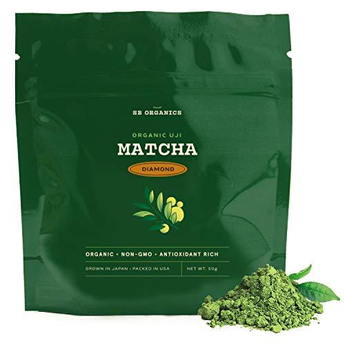 SB Organics Diamond Premium Certified Organic Matcha Green Tea Powder - Niban-Cha Harvest - Premium Drinking Blend for Flavor - 50 Grams
