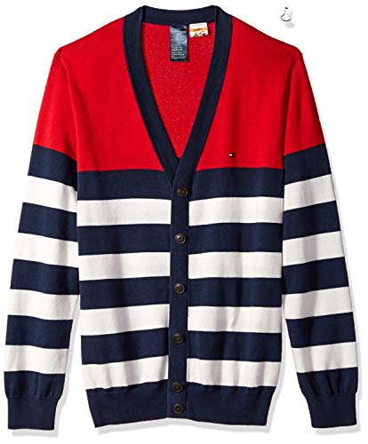 Tommy Hilfiger Adaptive Men's Cardigan Sweater with Magnetic Buttons, Navy Blazer/Multi, Medium