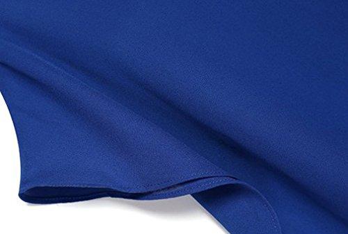 Exlura Plus Size Dolman Sleeve Chiffon Blouse Blue